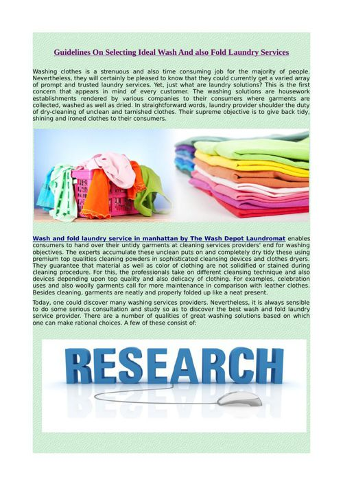 Guidelines On Selecting Ideal Wash And also Fold Laundry Service