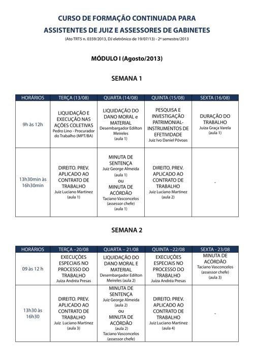 Agenda 2013 [2º Semestre]