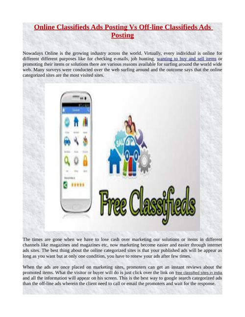 Online Classifieds Ads Posting Vs Off-line Classifieds Ads Posti