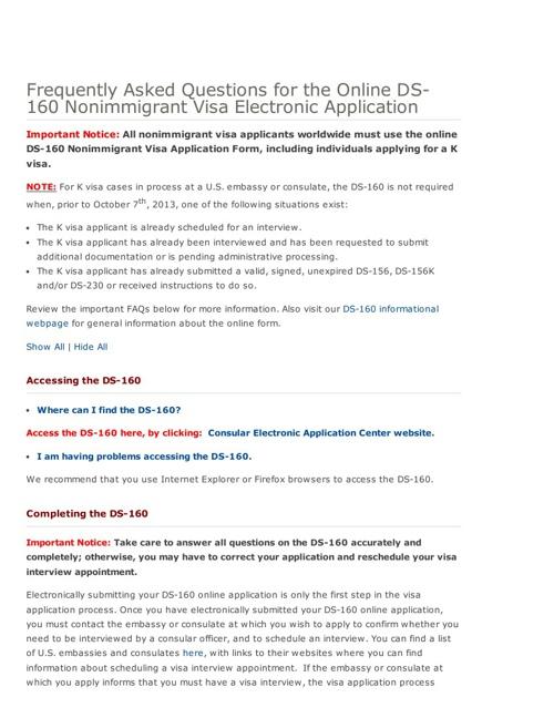 DS-160 FAQs-NIV Visa Electronic Application