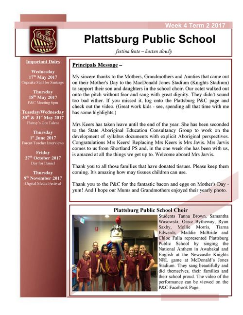 2017 Week 4 Term 2 Newsletter