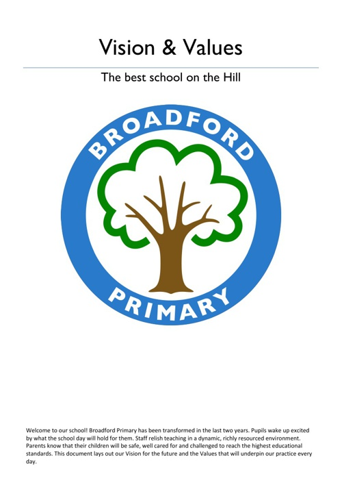 Broadford Primary: Vision & Values