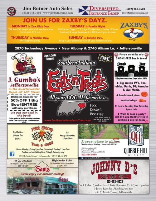 Southern Indiana Eats 'n Treats - April 1, 2015 - Issue 5
