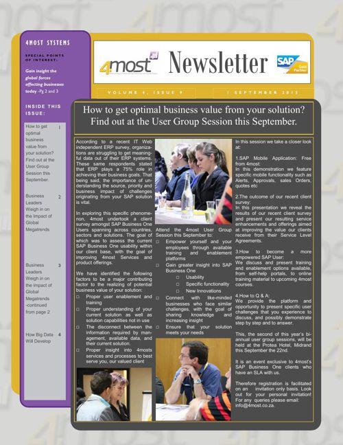 4most September 2015 Newsletter