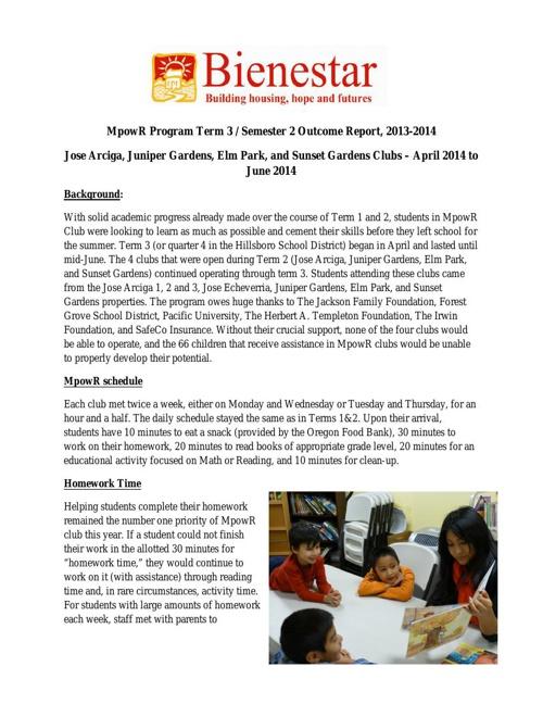 MpowR Club 2013-2014 Term 3 Outcome Report