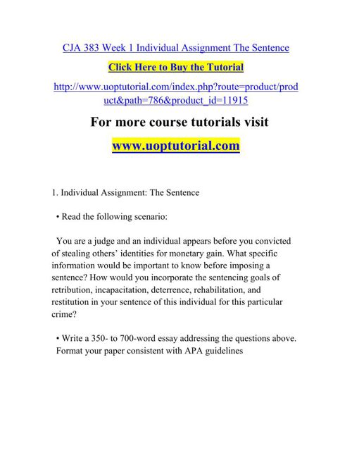 CJA 383 Week 1 Individual Assignment The Sentence