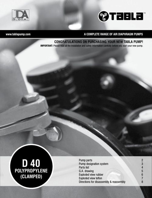 "Tabla 1 1/2"" (40mm) Polypropylene (PP) Clamped"