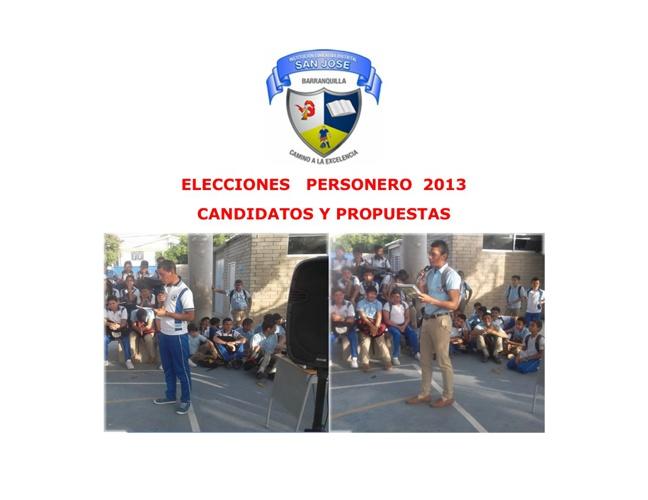ELECCIONES PERSONERO 2013 IED SAN JOSÉ