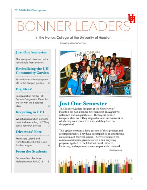 UH Bonner Leaders Program Mid-Year Update