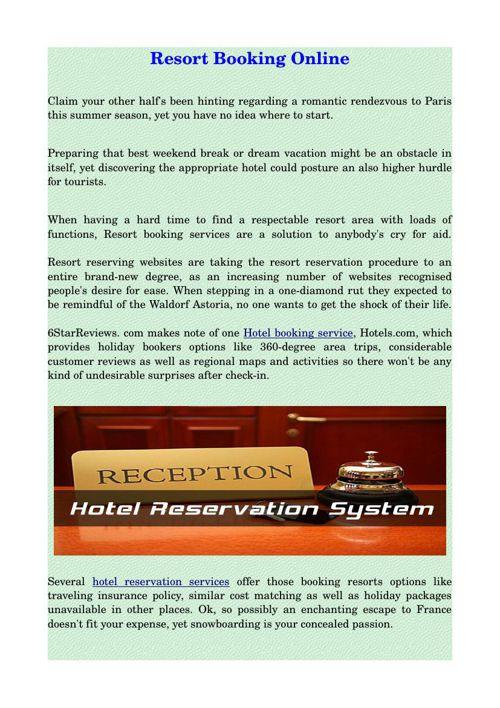 Resort Booking Online