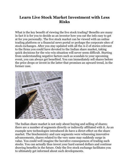 Learn Live Stock Market Investment with Less Risks