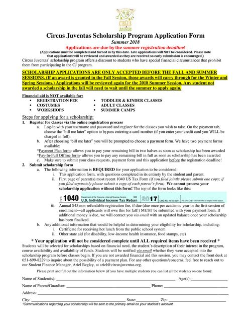 SM18_Scholarship Application