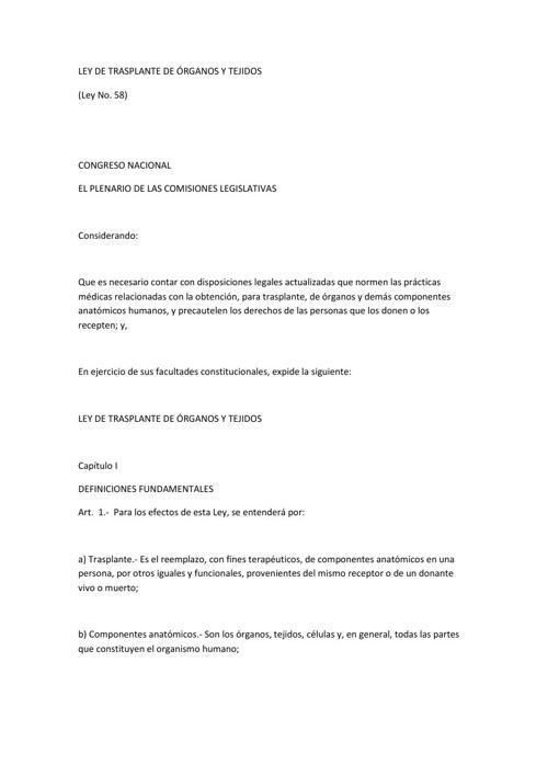 LEY DE TRASPLANTE DE ORGANOS Y TEJIDOS