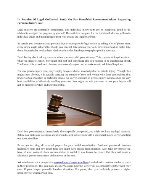 In Require Of Legal Guidance