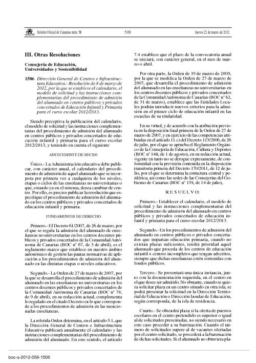 BOC jueves 22 de marzo de 2012: Admisión Infantil-Primaria