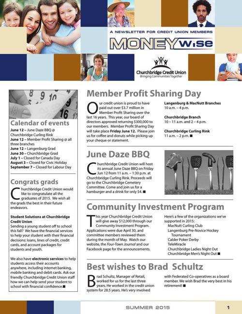 Churchbridge Credit Union MoneyWise Summer 2015