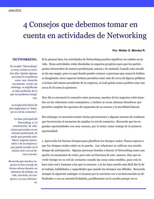 4 Consejos que debemos tomar en cuenta en actividades de Network
