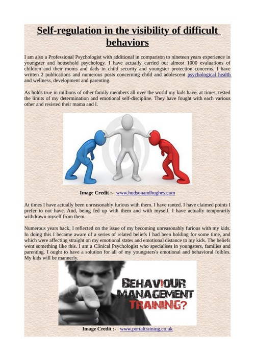 Self-regulation in the visibility of difficult behaviors
