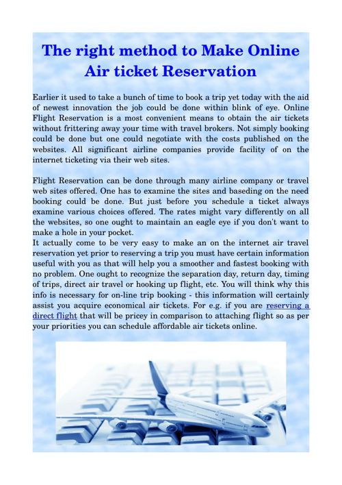 The right method to Make Online Air ticket Reservation
