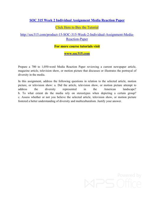 SOC 315 Week 2 Individual Assignment Media Reaction Paper