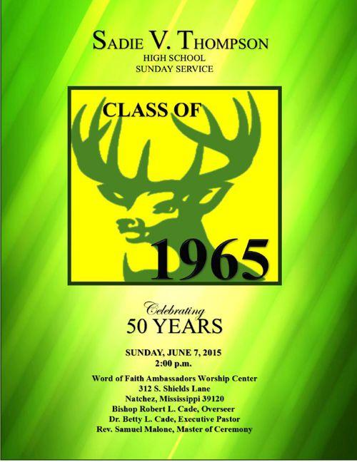 Sadie V. Thompson Class of 1965 Reunion Sunday Service Program