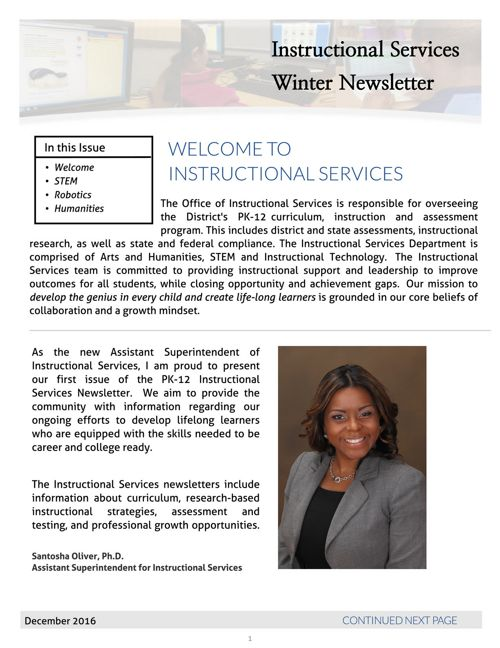 Windsor, CT Instructional Services Newsletter, Winter 2016