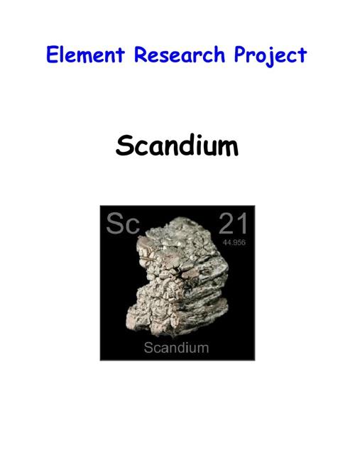 Element Research Project - Scandium