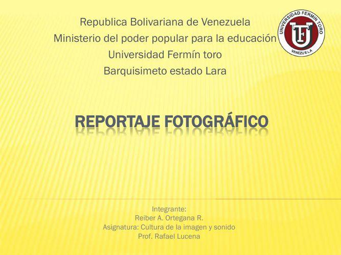 Reportaje Fotográfico REIBER ORTEGANA