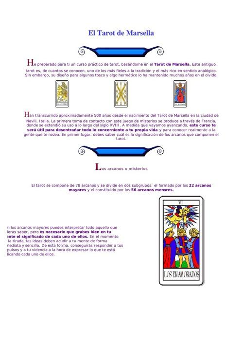 Curso de El Tarot de Marsella
