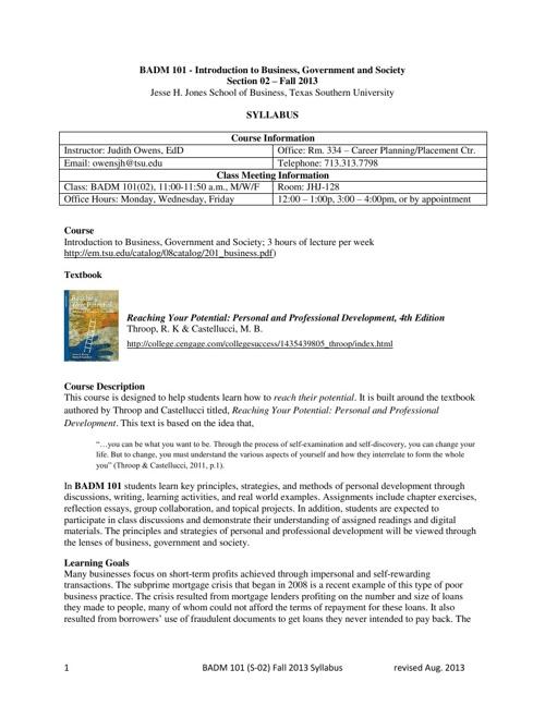 BADM 101 Syllabus - Fall 2013