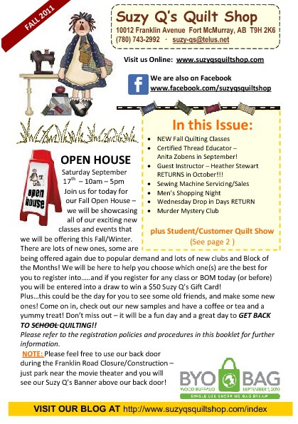 Suzy Q's Quilt Shop | Fall 2011 Newsletter