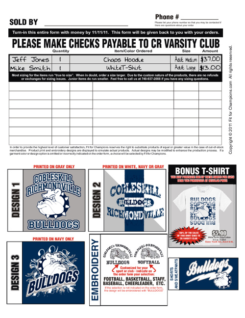 Cobleskill-Richmondville Bulldogs Fundraising Brochure