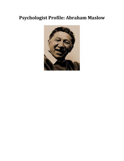 Psychologist Profile: Abraham Maslow