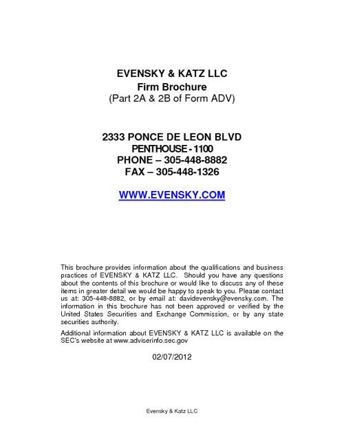 Evensky & Katz Form ADV