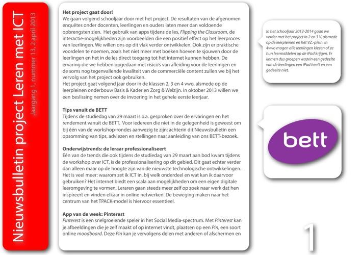 Nieuwsbulletin Leren met ICT, jaargang 1, nummer 13