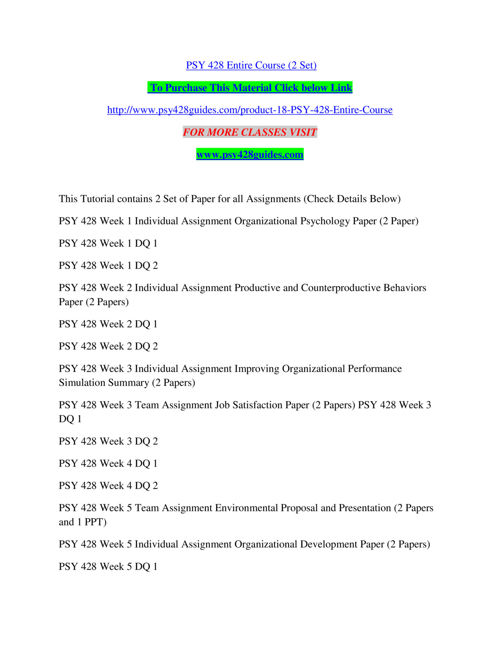 PSY 428 GUIDES Real Success/psy428guides.com