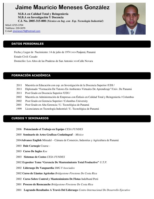 HOJA DE VIDA : JAIME M. MENESES G.