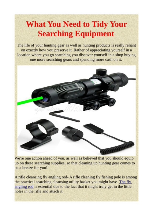 What You Need to Tidy Your Searching Equipment
