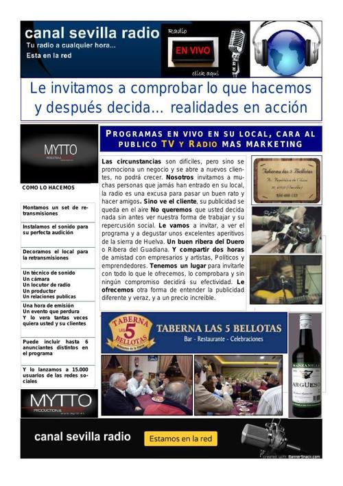 BOLETIN MES DE MARZO  = CANAL SEVILLA RADIO = MYTTO = RESTUARANT