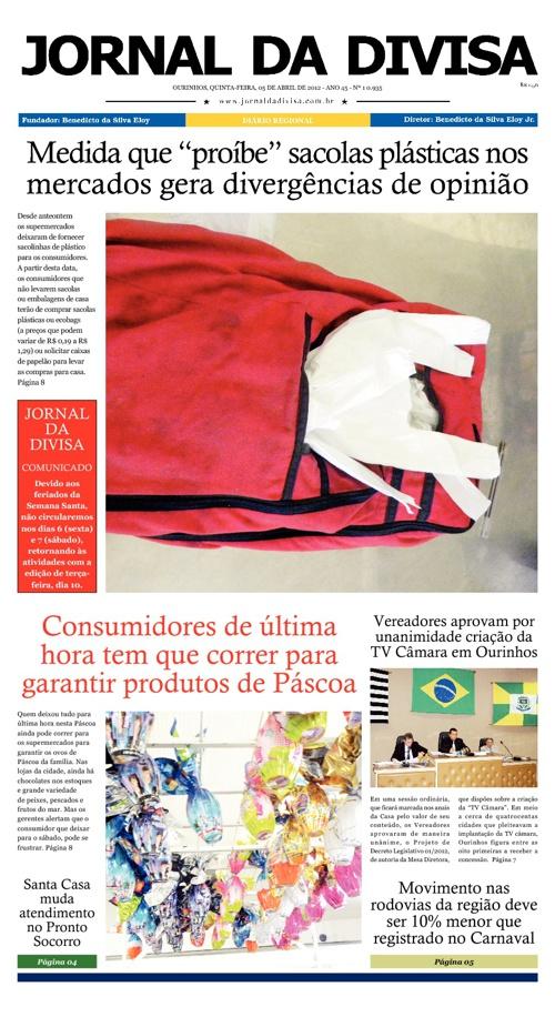 JORNAL DA DIVISA - Edição de 5 de Abril de 2012.