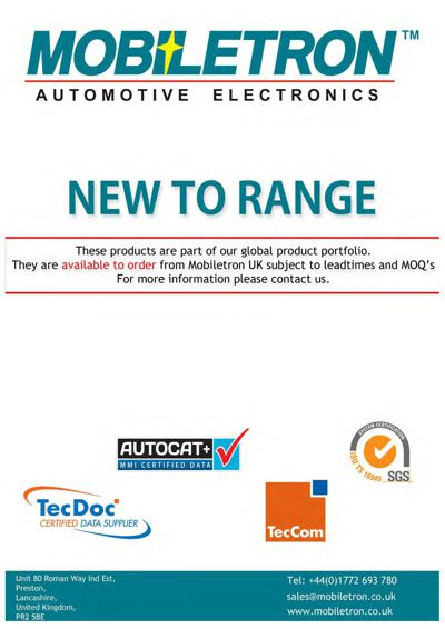 Mobiletron New To Range Products - July 2015