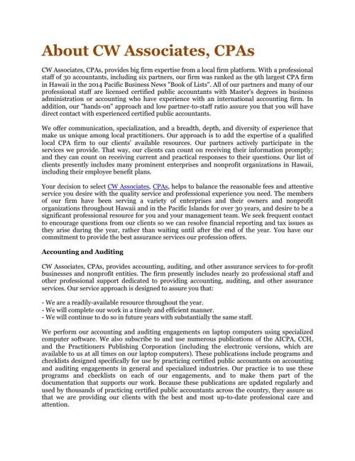 About CW Associates, CPAs