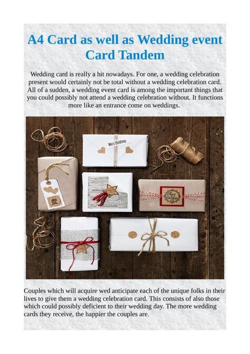 A4 Card as well as Wedding event Card Tandem
