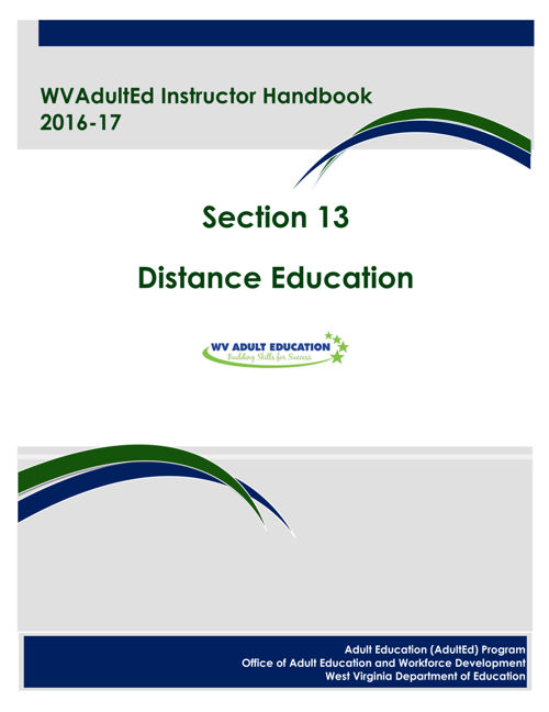 WVAdultEd Instructor Handbook 2015 - 2016 Section 13