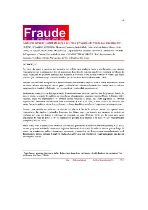 Artigo Revista Auditoria Interna nº 57 dedicado à Fraude