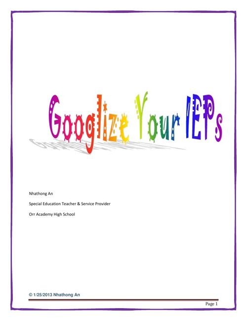 Googlize your IEP 1-2-3