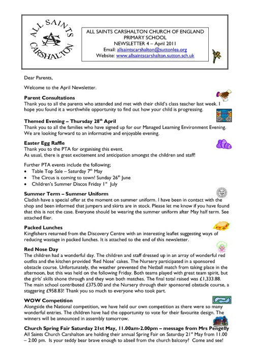 ALL SAINTS CARSHALTON SCHOOL NEWSLETTERS