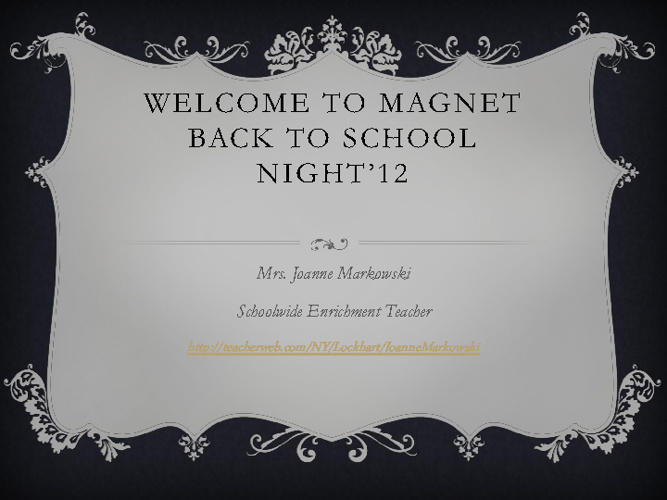 Magnet Back-to-School Presentation 2012