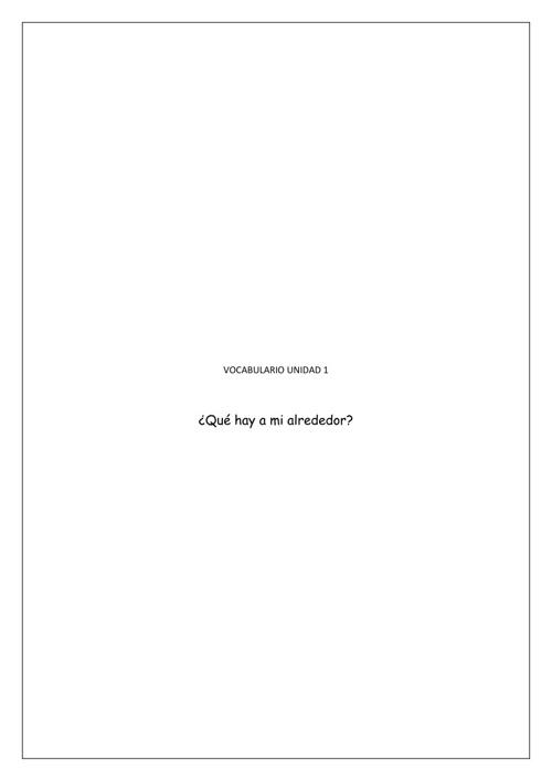 Vocabulario Unidad 1.