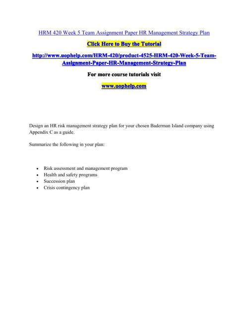 HRM 420 Week 5 Team Assignment Paper HR Management Strategy Plan